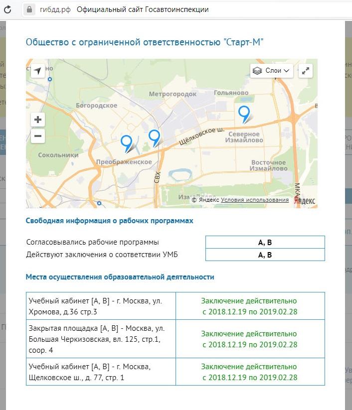 Заключение автошколы на Щелковской  сайт ГИБДД раздел Автошколы