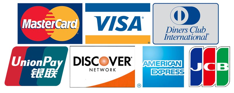 Visa, MasterCard, DinersClub, UnionPay, Discover, American Express, JBC